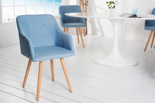 Krzesło SCANDINAVIA MASTERPIECE jasnoniebieskie z podłokietnikiem bukowe nogi