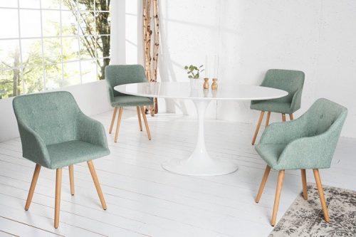 Krzesło SCANDINAVIA MASTERPIECE zielone z podłokietnikiem bukowe nogi