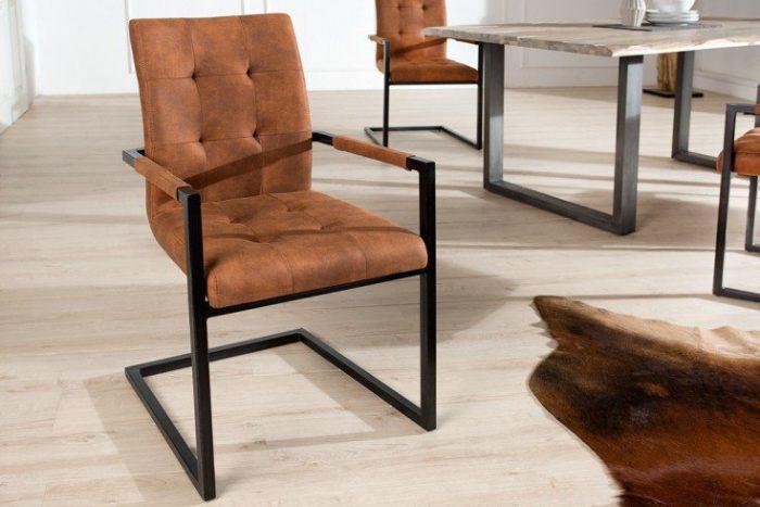 krzesło wspornikowe OXFORD w stylu industrialnym brązowe rama czarna