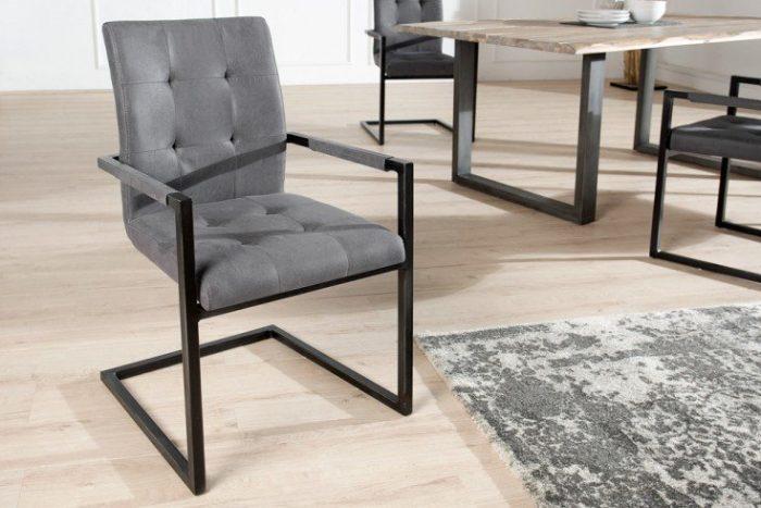 krzesło wspornikowe OXFORD w stylu industrialnym szare rama czarna