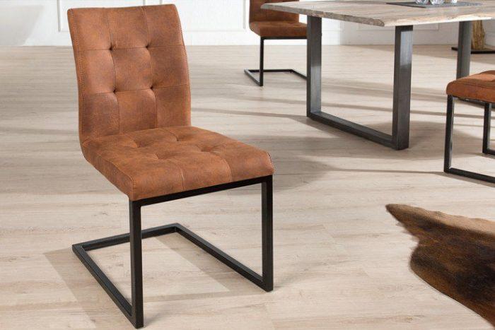 Designerskie krzesło wspornikowe OXFORD brązowe żelazna rama