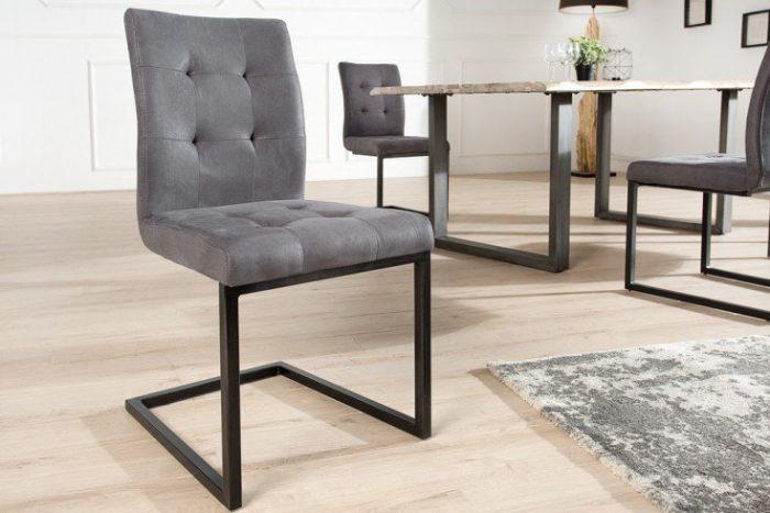Designerskie krzesło wspornikowe OXFORD szare żelazna rama