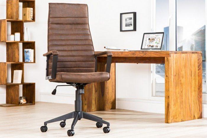 Regulowane krzesło biurowe LAZIO brązowe z podłokietnikami