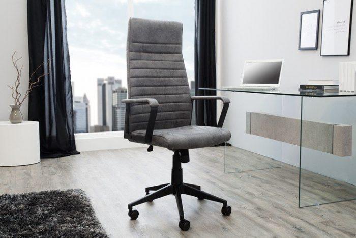 Regulowane krzesło biurowe LAZIO szare z podłokietnikami