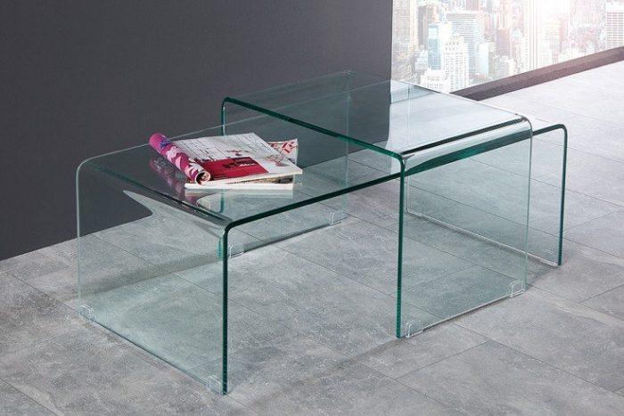 Zestaw 2 szklanych stolików FANTOME 100 cm przezroczysty