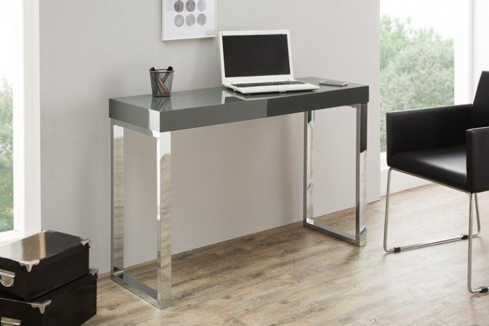 Eleganckie biurko GREY DESK 120 cm wysoki połysk ciemnoszare