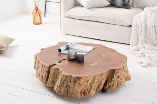 Masywny stolik kawowy GOA 80 cm pień akacji