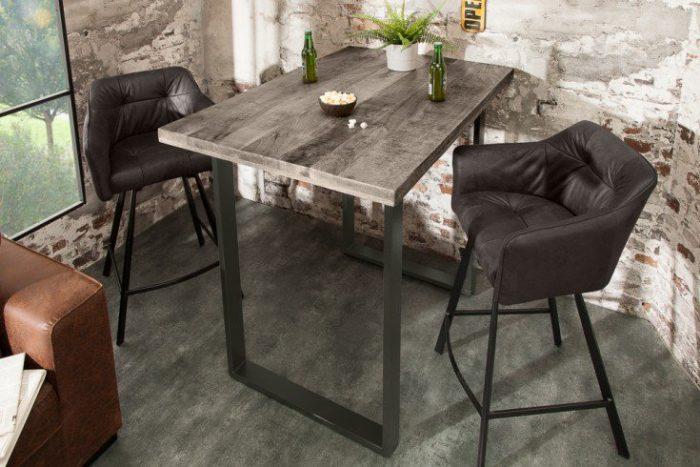 Masywny stół barowy IRON CRAFT 120 cm szary drewno mango