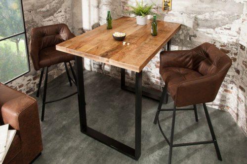 Masywny stół barowy IRON CRAFT 120 cm drewno mango