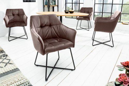 Krzesło LOFT szarobrązowe z podłokietnikiem