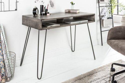 Masywne biurko SCORPION 100 cm szare nogi z drewna mango