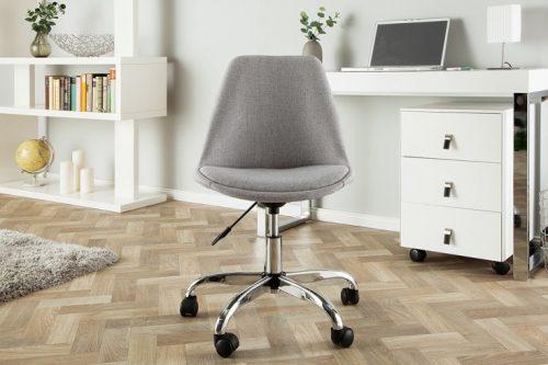 Tapicerowane krzesło biurowe SCANDINAVIA jasnoszare obrotowe