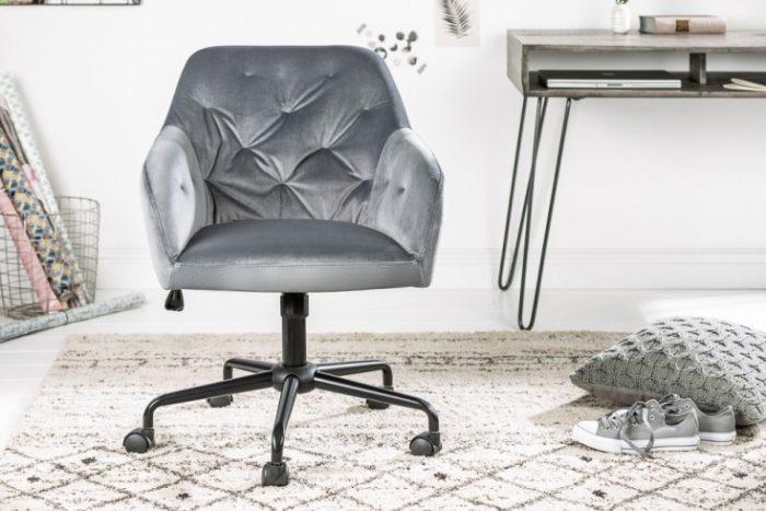 Krzesło biurowe z regulacją DUTCH eleganckie pikowania szare