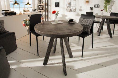Masywny stół do jadalni IRON CRAFT 80 cm okrągły drewno mango
