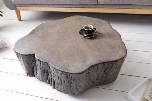 Masywny stolik kawowy GOA 77cm pień akacji szary