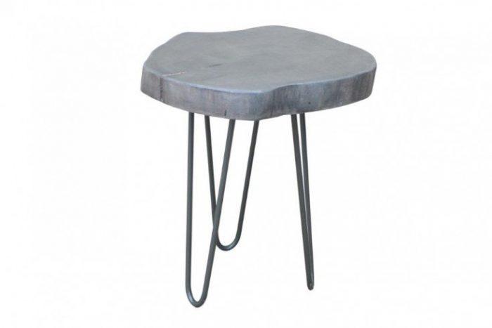 Stolik przemysłowy GOA 35 cm szary taboret z drewna akacji