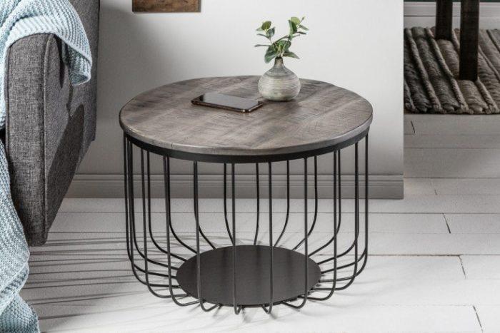 Stolik kawowy  FACTORY LOFT 56 cm szara akacja styl industrialny