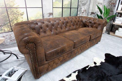 Sofa Chesterfield 205 cm antyczny brąz podłokietniki