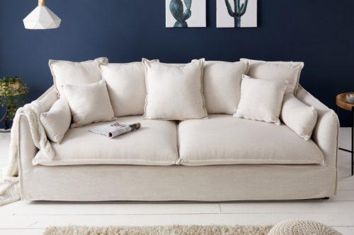 Duża 3-osobowa sofa HEAVEN 210 cm ecru