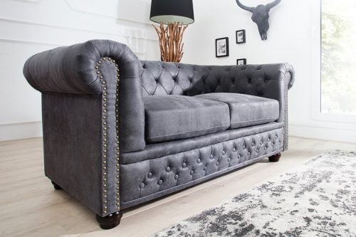 Sofa Chesterfield 2-osobowa 150 cm antyczna szarość