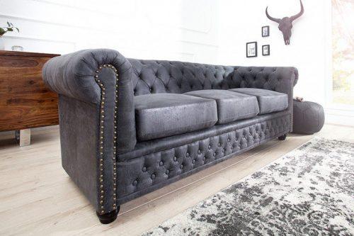 Sofa Chesterfield 3 osobowa 200 cm szara podłokietniki i przeszycia