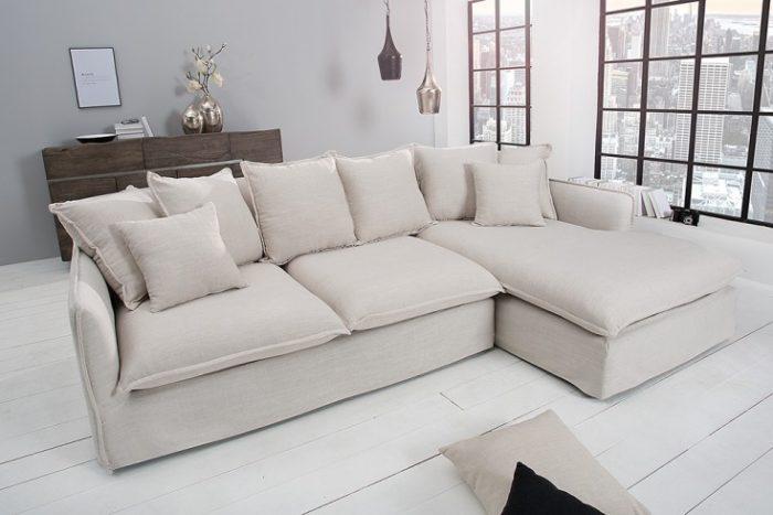 Duża sofa narożna HEAVEN 255 cm beżowa poduszki w zestawie