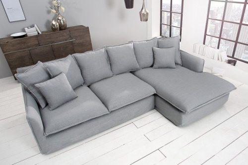 Duża sofa narożna HEAVEN 255 cm szara poduszki w zestawie