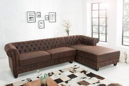 Sofa narożna Chesterfield 280 cm vintage brązowy
