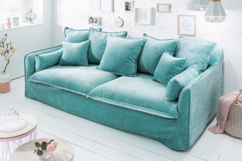 Duża 3-osobowa sofa HEAVEN 210 cm aqua aksamitna