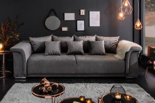Elegancka sofa BELLA 270 cm jasnoszara funkcja spania 7 poduszek