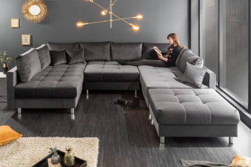Nowoczesna sofa XXL KENT 305 cm ciemnoszara aksamit