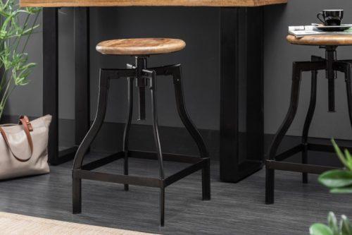 krzesło barowe IRON CRAFT 33 cm drewno mango w stylu industrialnym