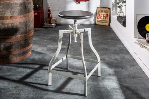 krzesło barowe IRON CRAFT 33 cm szare drewno mango w stylu industrialnym