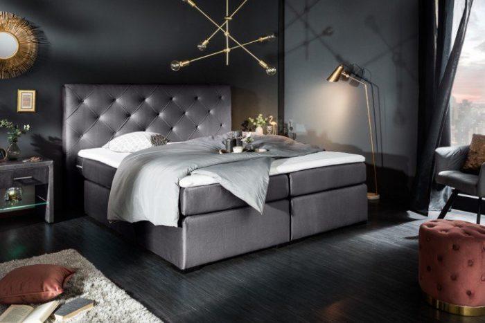 Eleganckie łóżko sprężynowe ELEGANCIA 160×200 cm aksamit szare