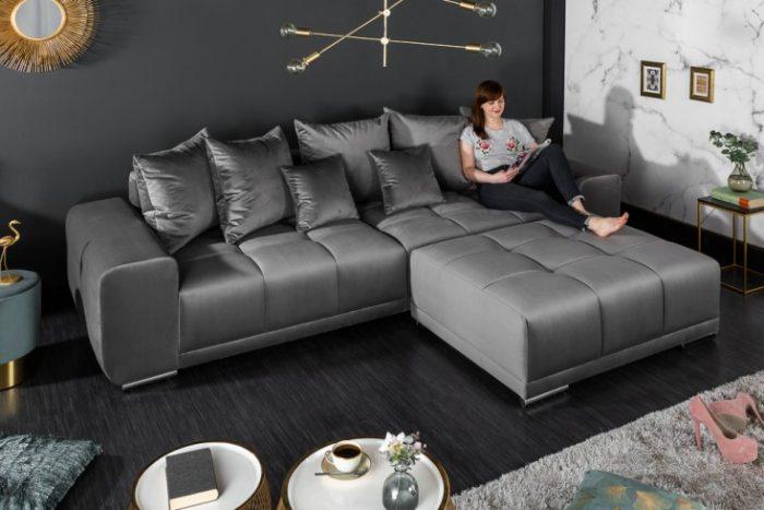 Elegancka sofa XXL ELEGANCIA 280 cm srebrnoszary aksamit
