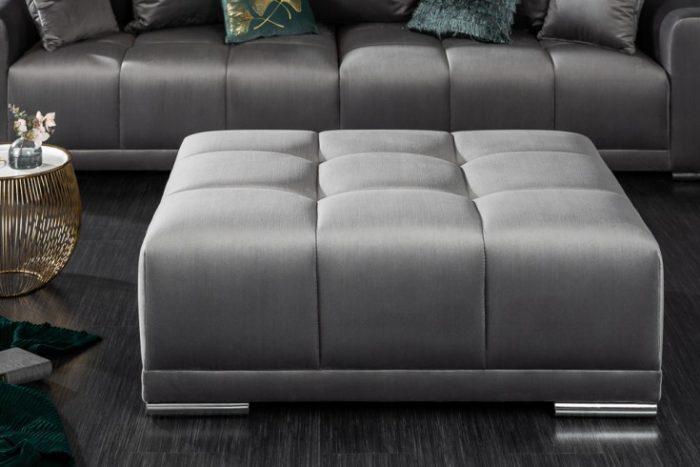 Elegancki stołek/pufa ELEGANCIA 110 cm srebrno-szary aksamit