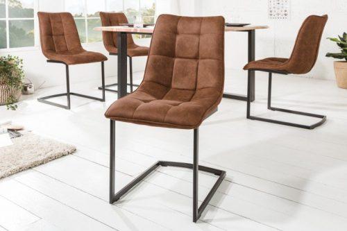 Krzesło do biura na płozach MIAMI ciemno brązowe