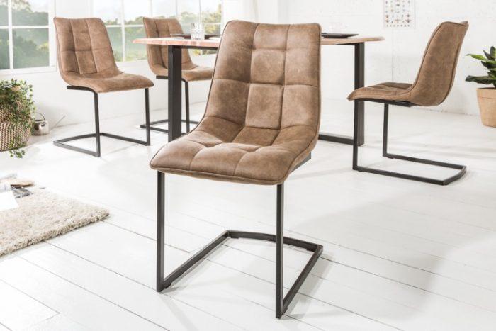 Nowoczesne Krzesło do biura na płozach MIAMI brązowe
