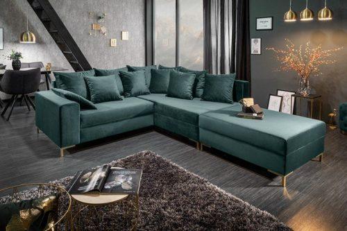 Nowoczesna sofa narożna LOFT 220 cm butelkowa zieleń aksamit z podnóżkiem i poduszkami