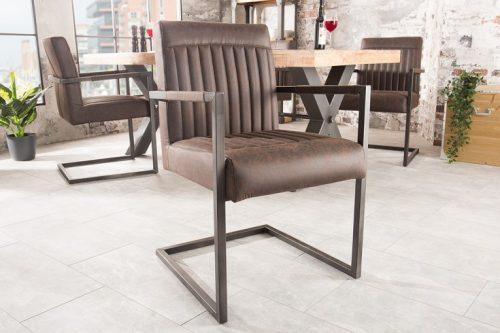 krzesło wspornikowe BIG GEORGE vintage brązowy z podłokietnikiem