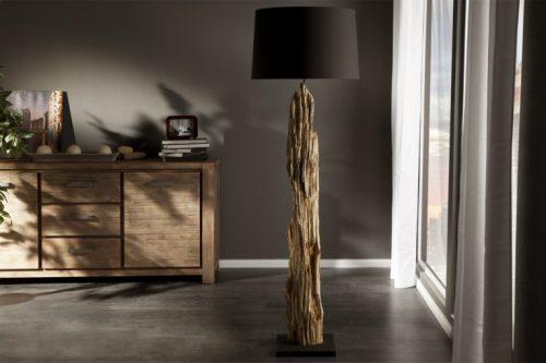 Lampa podłogowa ROUSILIQUE 175cm czarny abażur z drewna