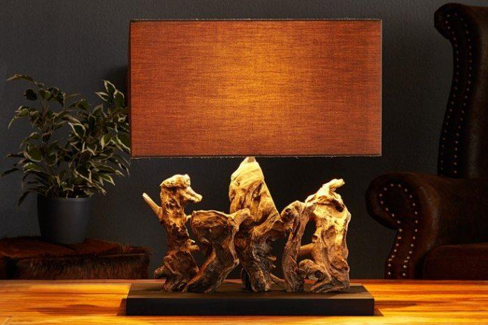 Lampa stołowa ARAGON 50cm brązowy klosz lniany