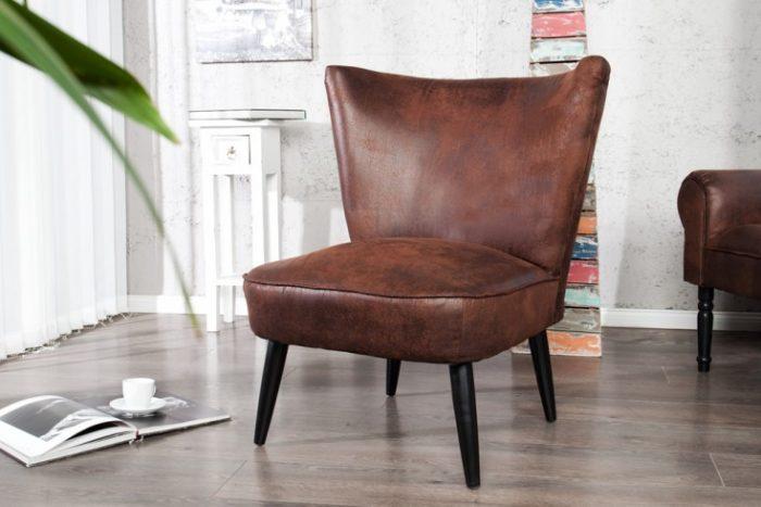 Fotel retro SIXTIES tapicerowany w kolorze brązu