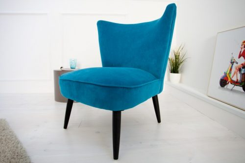Fotel retro SIXTIES tapicerowany w kolorze niebieskim