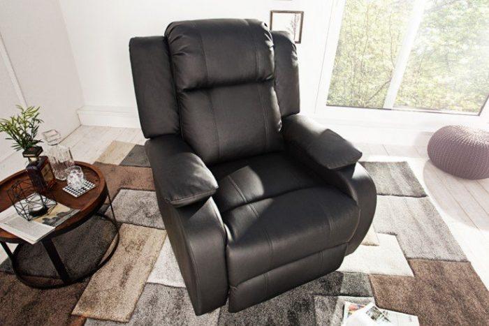 Fotel relaksacyjny HOLLYWOOD czarny z funkcją rozkładania