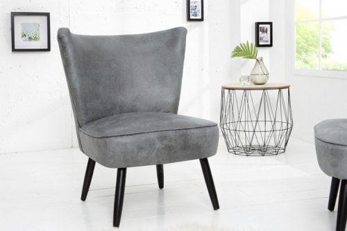 Fotel retro SIXTIES tapicerowany w kolorze szarym