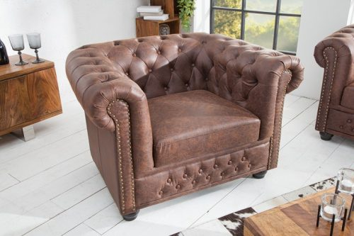 Fotel Chesterfield 105 cm vintage brązowy brązowy
