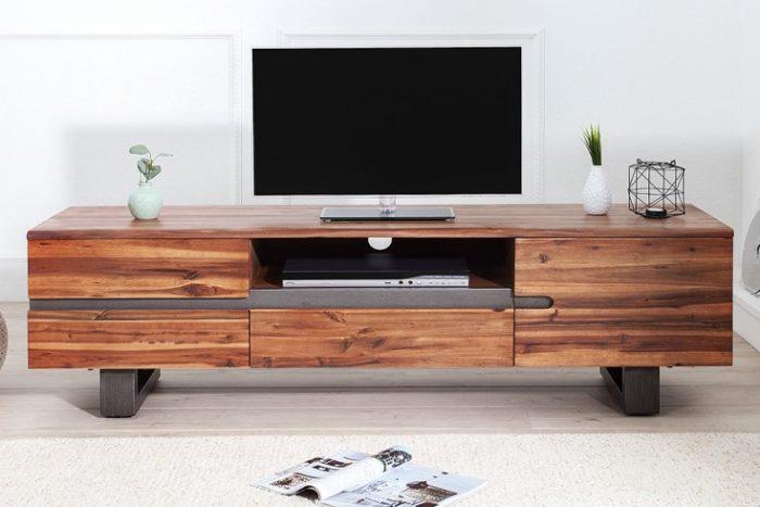 Masywna komoda TV GENESIS 160 cm drewno akacjowe