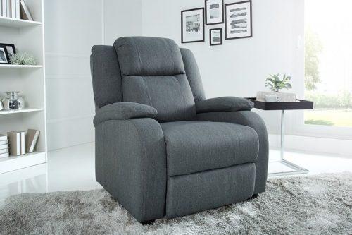 Nowoczesny fotel relaksacyjny HOLLYWOOD szary z funkcją rozkładania