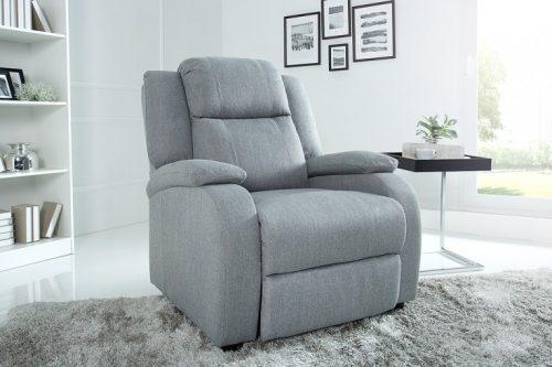 Nowoczesny fotel relaksacyjny HOLLYWOOD jasnoszary z funkcją rozkładania